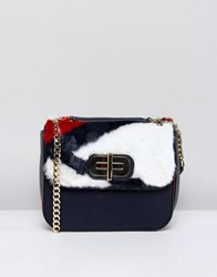 Tommy Hilfiger Twist Lock Fur Crossbody Bag Red White Blue Multi