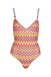 Topshop Strappy Zig Zag Swimsuit Pink