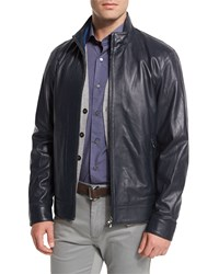 Peter Millar Summertime Napa Leather Bomber Jacket Blue