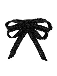 N 21 No21 Sequinned Double Bow Brooch Black