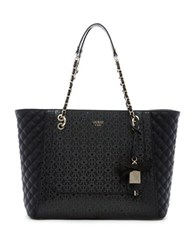 Guess Marian Medium Quilted Tote Black