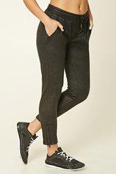 Forever 21 Active Faux Leather Sweatpants Black