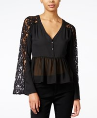 Bar Iii Lace Contrast Babydoll Top Only At Macy's Deep Black