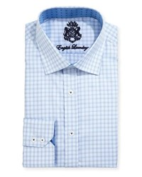 English Laundry Plaid Cotton Dress Shirt Blue