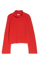 Leith Plus Size Transfer Stitch Turtleneck Sweater Red Chinoise
