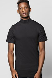 Boohoo Muscle Fit Turtle Neck Tshirt Black
