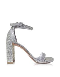 Stuart Weitzman Walkway Chrome Glitter Lace High Heel Sandals Gold