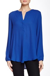 Harlowe And Graham Long Sleeve Split Front Round Collar Blouse Blue