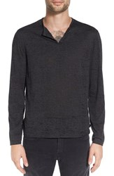 John Varvatos Men's Star Usa Eyelet Henley Charcoal Heather