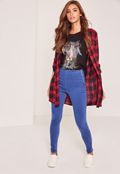 Missguided Blue High Waisted Jeggings