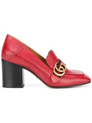 Gucci Gg Web Mid Heel Loafer Pumps Red
