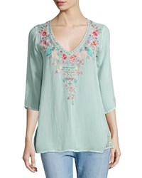 Johnny Was Priscilla Embroidered Tunic Petite Artic Mint