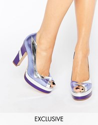 Terry De Havilland Luna Lilac Peep Toe Heeled Shoes Lilac Purple