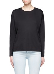 Vince Pima Cotton Jersey Long Sleeve T Shirt Black