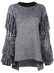 Ports 1961 Fringed Checked Jumper Black