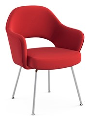 Knoll Saarinen Executive Arm Chair With Tubular Legs K102111 Ultrasuede Red Poly Pu Blend C Polished Chrome Multicolor