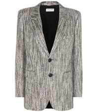 Saint Laurent Metallic Tweed Blazer Silver