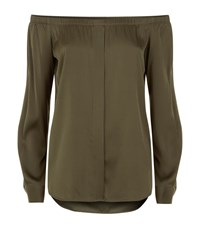 Dkny Off The Shoulder Long Sleeve Top Female Green