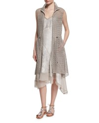 Elie Tahari Molly Long Lace Vest Hazelnut