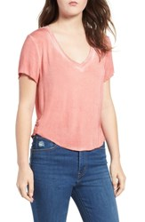 Ten Sixty Sherman Meet And Greet V Neck Tee Coral Orange