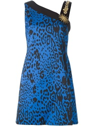 Fausto Puglisi Leopard Print Embellished Strap Dress Blue