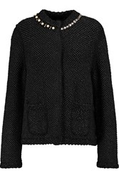 Lanvin Embellished Boucle Knit Cardigan Black