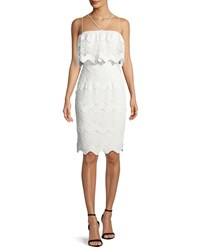 Black Halo Gwendolyn Scalloped Lace Cocktail Sheath Dress White