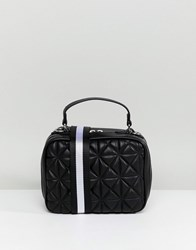 Stradivarius Quilted Stripe Strap Cross Body Bag Black