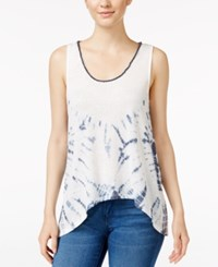 Miss Me Cowl Back Tie Dyed Tank Top Off White
