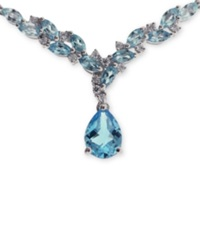 No Vendor Sterling Silver Blue Topaz 2 1 2 Ct. Tw And Diamonds 1 8 Ct. Tw Necklace