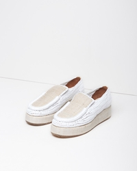 Acne Studios Laurie Raffia Platform Loafer White