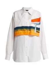 Calvin Klein 205W39nyc Printed Double Layered Cotton Shirt White Multi