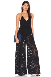 Mara Hoffman Compass Burn Out Wide Leg Jumpsuit Black