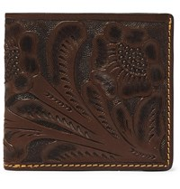 Rrl Tooled Leather Billfold Wallet Brown