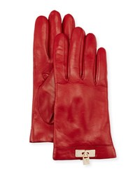Portolano Leather Lock Cuff Gloves Red