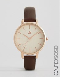 Asos Curve Large Face Clean Dial Watch Dark Brown Rose Gold