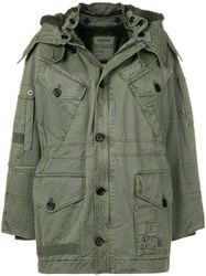 Zadig And Voltaire Faded Patchwork Parka Coat Green