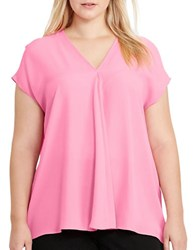Lauren Ralph Lauren Plus Andra Georgette Short Sleeve Top Peace Rose