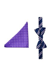 Tommy Hilfiger Stripe And Dot Silk Bow Tie And Pocket Square Set Purple