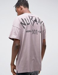 Asos Oversized Longline T Shirt With Text Back Print Pink
