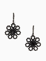 Kate Spade Crystal Lace Leverback Drop Earrings Black