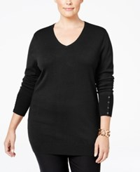 Jm Collection Plus Size V Neck Button Sleeve Sweater Only At Macy's Deep Black