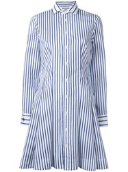 Polo Ralph Lauren Striped Flared Shirt Dress Blue