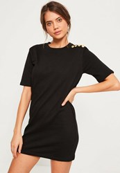 Missguided Military Button Shift Dress Black