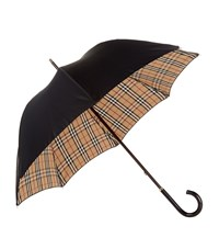 Burberry Shoes And Accessories Heritage Check Lined Walking Umbrella Female Black
