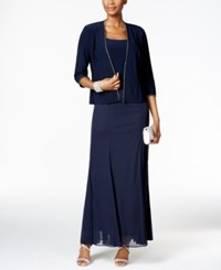 Alex Evenings Rhinestone Trim Gown And Jacket Navy