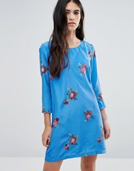 Traffic People Shift Dress With Floral Embroidery Light Blue