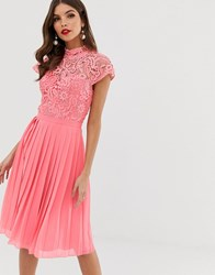 Chi Chi London Lace Midi Dress With Pleated Skirt In Coral Pink