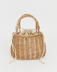 Hat Attack Straw Clasic Basket Bag Tan