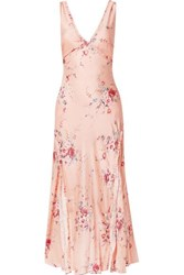 Loveshackfancy Kendall Ruffled Floral Print Silk Satin Maxi Dress Pink